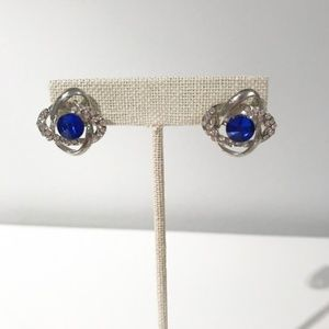 Blue Gem Knotted Earrings